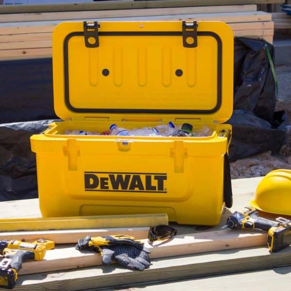 DEWALT Cooler Lifestyle At Job Site With Tools