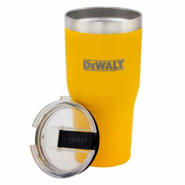 30 oz Yellow Powder Coated Industrial Drinkware With Lid Removed