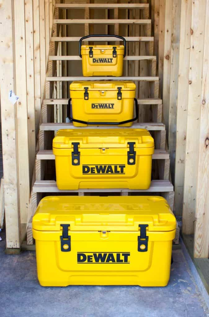 DEWALT Cooler Stacked On Staircase