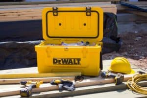 DEWALT Cooler Lifestyle With Tools At Job Site
